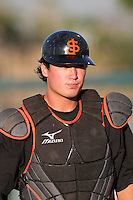 San Jose Giants catcher Alex Burg #55 before a game against the Inland Empire 66'ers at Arrowhead Credit Union Park on August 1, 2011 in San Bernardino,California. San Jose defeated Inland Empire 2-1.(Larry Goren/Four Seam Images)