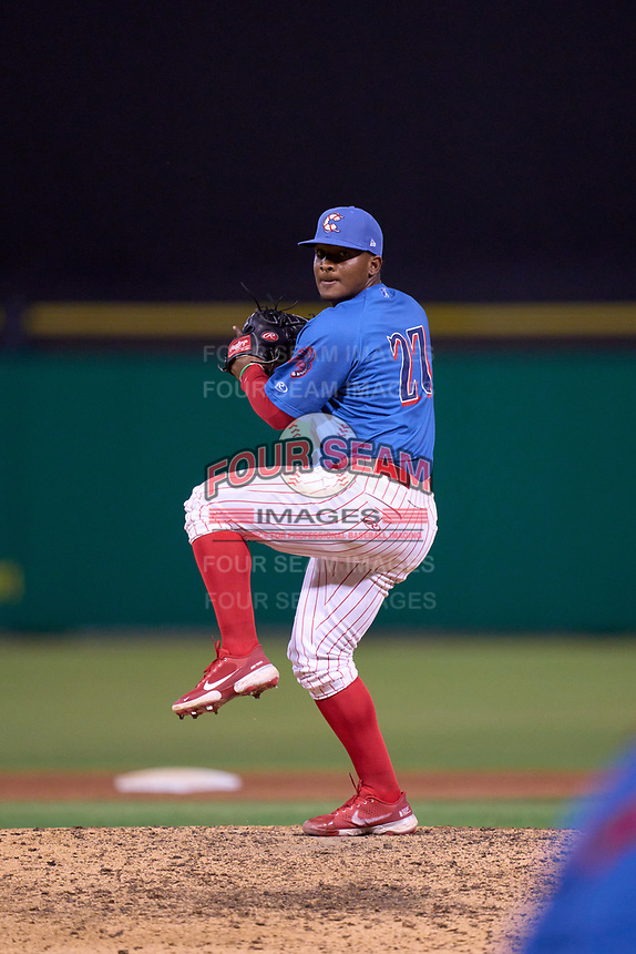 Clearwater Threshers pitcher Carlo Reyes (27) during a game against the Dunedin Blue Jays on May 18, 2021 at BayCare Ballpark in Clearwater, Florida.  (Mike Janes/Four Seam Images)