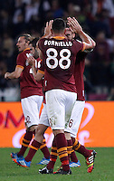 Calcio, Serie A: Roma vs ChievoVerona. Roma, stadio Olimpico, 31 ottobre 2013.<br /> AS Roma forward Marco Borriello, back to camera, celebrates with teammate Daniele De Rossi after scoring during the Italian Serie A football match between AS Roma and ChievoVerona at Rome's Olympic stadium, 31 October 2013.<br /> UPDATE IMAGES PRESS/Isabella Bonotto