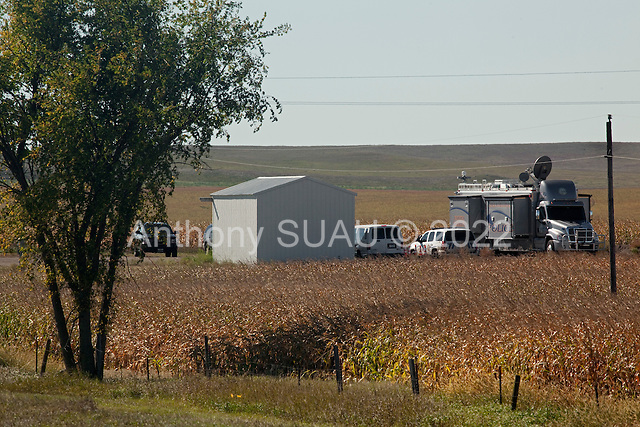 Cannon Ball, North Dakota<br /> September 26, 2016<br /> <br /> Police surveillance vehicle less than 1 mile from the  Standing Rock Sioux encampment near the construction of the Dakota Access Pipeline stands against the construction of the new pipeline. <br /> <br /> The Standing Rock Sioux, whose tribal lands are a half-mile south of the proposed route, say the pipeline would desecrate sacred burial and prayer sites, and could leak oil into the Missouri and Cannon Ball rivers, on which the tribe relies for water.<br /> <br /> Opposition to the pipeline has drawn support from 200 Native American tribes, as well as from activists and celebrities. <br /> <br /> Energy Transfer Partners—one of the major stakeholders in the controversial Dakota Access pipeline—bought over 6,000 acres of land surrounding the line's route in North Dakota, according to several media reports over the weekend.