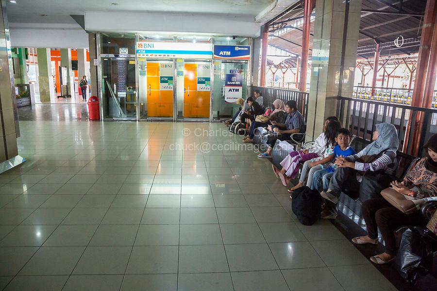 Yogyakarta, Java, Indonesia.  Main Railroad Station waiting Room.  ATM Machine.
