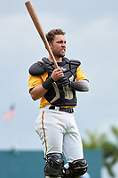 FCL Pirates Gold catcher Claudio Finol (25) during a game against the FCL Rays on July 26, 2021 at LECOM Park in Bradenton, Florida. (Mike Janes/Four Seam Images)