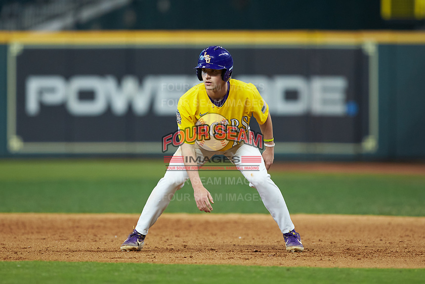 Collier Cranford (16) of the LSU Tigers takes his lead off of first base against the Oklahoma Sooners in game seven of the 2020 Shriners Hospitals for Children College Classic at Minute Maid Park on March 1, 2020 in Houston, Texas. The Sooners defeated the Tigers 1-0. (Brian Westerholt/Four Seam Images)