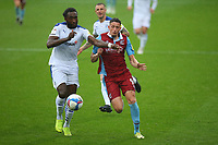 Scunthorpes Ryan Loft battles with Tranmeres Emmanuel Month during the Sky Bet League 2 match between Tranmere Rovers and Scunthorpe United at Prenton Park, Birkenhead, England on 3 October 2020. Photo by Chris Donnelly/MI News /PRiME Media Images