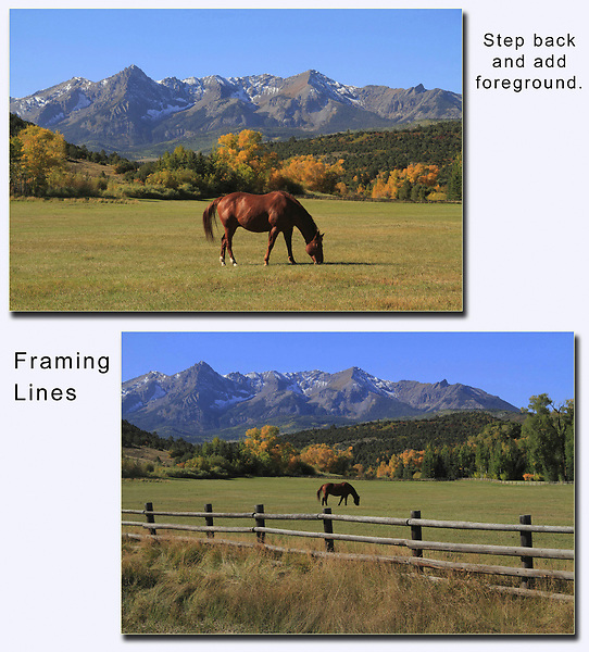 Composition Rule #3. Step FURTHER Back.<br /> In the top photo, I placed an interesting subject (horse) under the mountain. In the bottom photo, I stepped further back and I used strong diagonal lines (fence) to create frame along the bottom. The mountains, horse and fence are all classic icons of the American West and help tell my story.
