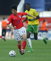 Korea Republic's Eul Yong Lee (13). Korea Republic defeated Togo 2-1 in their FIFA World Cup Group G match at the FIFA World Cup Stadium, Frankfurt, Germany, June 13, 2006.