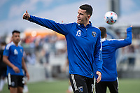 Nathan Cardoso #13 of the San Jose Earthquakes gives a thumbs up before a game between San Jose Earthquakes and Vancouver Whitecaps at PayPal Park on August 13, 2021 in San Jose, California