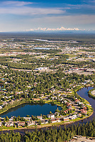 Aerial of the Chena River winding through downtown Fairbanks, Alaska.