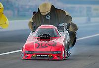 Jul 19, 2020; Clermont, Indiana, USA; NHRA funny car driver Matt Hagan during the Summernationals at Lucas Oil Raceway. Mandatory Credit: Mark J. Rebilas-USA TODAY Sports