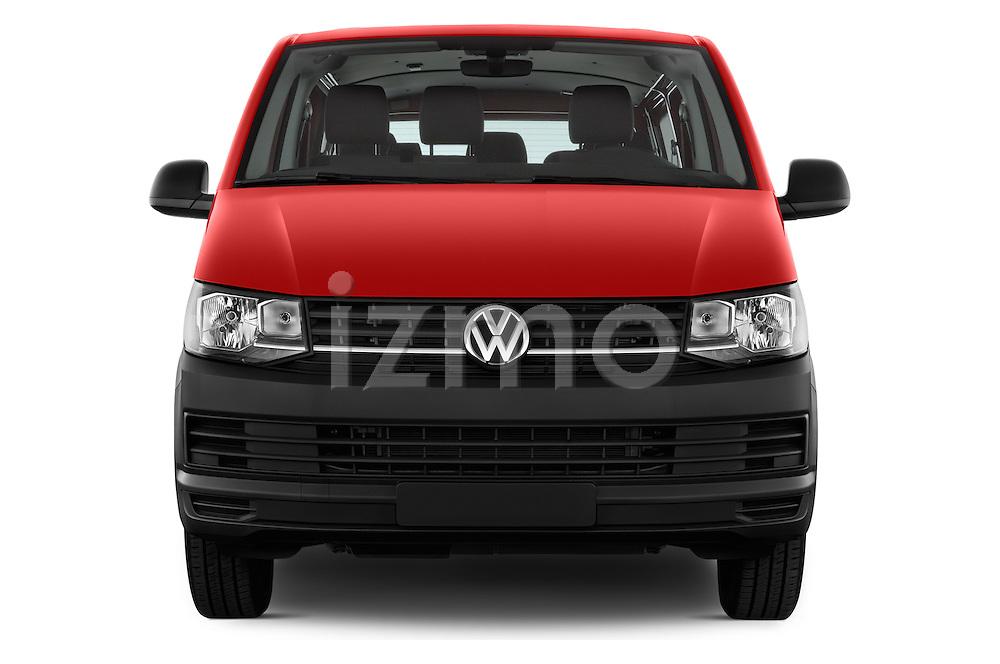 Car photography straight front view of a 2016 Volkswagen Transporter - 5 Door Passenger Van Front View