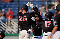 Batavia Muckdogs J.D. Orr congratulates Sean Reynolds (25) after hitting a home run during a NY-Penn League game against the Lowell Spinners on July 10, 2019 at Dwyer Stadium in Batavia, New York.  Batavia defeated Lowell 8-6.  (Mike Janes/Four Seam Images)