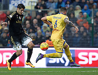 Calcio, Serie A: Frosinone vs Juventus. Frosinone, stadio Comunale, 7 febbraio 2016.<br /> Juventus' Alvaro Morata, left, is challenged by Frosinone's Leonardo Blanchard during the Italian Serie A football match between Frosinone and Juventus at Frosinone's Comunale stadium, 7 January 2016.<br /> UPDATE IMAGES PRESS/Isabella Bonotto
