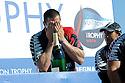 Louis Vuitton Trophy La Maddalena 6 giugno 2010. Un momento della prima e festosa parte della premiazione che si è tenuta sul palco allestito in un piazzale dell'ex arsenale. Un membro dell'equipaggio kiwi si lascia andare all'emozione
