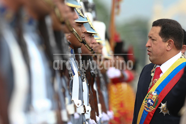 President of Venezuela Hugo Chavez during the military parade in conmemoration of the Carabobo battle , that marked Venezuela independence from Spain.