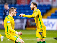 13th March 2021; Global Energy Stadium, Dingwall, Highland, Scotland; Scottish Premiership Football, Ross County versus Hibernian; Martin Boyle of Hibernian celebrates after scoring equalising goal with Chris Cadden of Hibernian in the 52nd minute