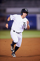 Tampa Yankees center fielder Mark Payton (11) running the bases during a game against the Lakeland Flying Tigers on April 8, 2016 at George M. Steinbrenner Field in Tampa, Florida.  Tampa defeated Lakeland 7-1.  (Mike Janes/Four Seam Images)