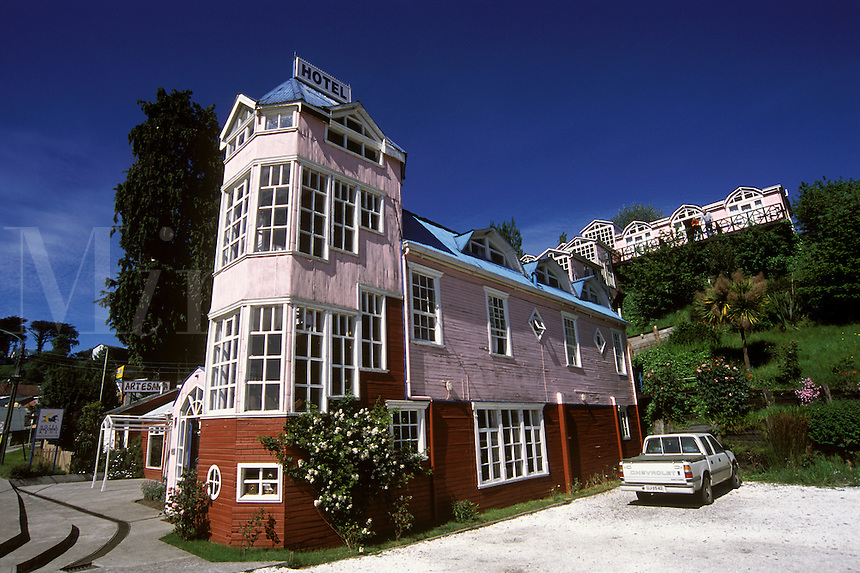 a charming PINK HOTEL with a unique multilevel design in CASTRO is very CHILOTE - CHILOE ISLAND, CHILE