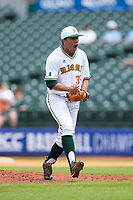 Miami Hurricanes relief pitcher Andrew Cabezas (35) reacts after getting a strike out to end an inning against the Georgia Tech Yellow Jackets during Game One of the 2017 ACC Baseball Championship at Louisville Slugger Field on May 23, 2017 in Louisville, Kentucky.  The Hurricanes walked-off the Yellow Jackets 6-5 in 13 innings. (Brian Westerholt/Four Seam Images)