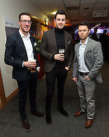 Pictured L-R: Ben Donovan, Jack Wells and James Snaith <br /> Re: Swansea City FC Christmas party at the Liberty Stadium, south Wales, UK.