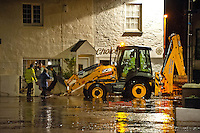 Friday 03 January 2014<br /> Pictured: The centre of the Village of Laugharne, Carmarthenshire, Wales is completely under water due to high tidal surges<br /> Re: Storm force winds and some of the highest tides in decades are expected early on Friday as several severe flood warnings are issued.