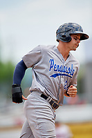 Pensacola Blue Wahoos left fielder Brian O'Grady (21) rounds the bases during a game against the Birmingham Barons on May 9, 2018 at Regions Field in Birmingham, Alabama.  Birmingham defeated Pensacola 16-3.  (Mike Janes/Four Seam Images)