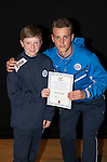 St Johnstone FC Academy Awards Night...06.04.15  Perth Concert Hall<br /> Ally Gilchrist presents a certificate to Blair Pringle<br /> Picture by Graeme Hart.<br /> Copyright Perthshire Picture Agency<br /> Tel: 01738 623350  Mobile: 07990 594431