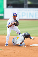 Angel Sanchez (37) follows through on his throw to first base as Willie Argo (24) of the Montgomery Biscuits attempts to break up a double play at AT&T Field on July 23, 2014 in Chattanooga, Tennessee.  The Lookouts defeated the Biscuits 6-5. (Brian Westerholt/Four Seam Images)