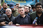 """© Joel Goodman - 07973 332324 . 11/06/2017 . Manchester , UK . TOMMY ROBINSON . Demonstration against Islamic hate , organised by former EDL leader Tommy Robinson's """" UK Against Hate """" and opposed by a counter demonstration of anti-fascist groups . UK Against Hate say their silent march from Piccadilly Train Station to a rally in Piccadilly Gardens in central Manchester is in response to a terrorist attack at an Ariana Grande concert in Manchester , and is on the anniversary of the gun massacre at the Pulse nightclub in Orlando . Photo credit : Joel Goodman"""