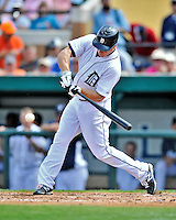 9 March 2012: Detroit Tigers outfielder Andy Dirks in action during a Spring Training game against the Philadelphia Phillies at Joker Marchant Stadium in Lakeland, Florida. The Phillies defeated the Tigers 7-5 in Grapefruit League action. Mandatory Credit: Ed Wolfstein Photo