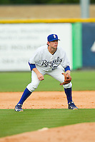 Burlington Royals second baseman Kevin Kuntz (29) on defense against the Greeneville Astros at Burlington Athletic Park on July 1, 2013 in Burlington, North Carolina.  The Astros defeated the Royals 7-0 in Game One of a doubleheader.  (Brian Westerholt/Four Seam Images)