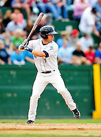21 August 2010: Vermont Lake Monsters' infielder Jason Martinson in action against the Brooklyn Cyclones at Centennial Field in Burlington, Vermont. The Cyclones defeated the Lake Monsters 8-7 in a 12-inning game that had to be resumed in Brooklyn on August 31 due to late inning rain. Mandatory Credit: Ed Wolfstein Photo