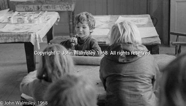 If you put a ruler in a vice, you can flick a ball of clay a long way, Art room, Summerhill school, Leiston, Suffolk, UK. 1968.