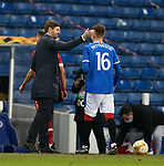 25.02.2021 Rangers v Royal Antwerp: Steven Gerrard beaming at full time with Nathan Patterson