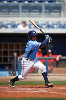 Charlotte Stone Crabs catcher David Rodriguez (10) at bat during a game against the Palm Beach Cardinals on April 12, 2017 at Charlotte Sports Park in Port Charlotte, Florida.  Palm Beach defeated Charlotte 8-7.  (Mike Janes/Four Seam Images)