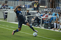 SAN JOSE, CA - OCTOBER 03: Marcos Lopez #27 of San Jose Earthquakes controls the ball during a game between Los Angeles Galaxy and San Jose Earthquakes at Earthquakes Stadium on October 03, 2020 in San Jose, California.