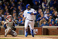 Chicago Cubs Dexter Fowler (24) bats in the third inning during Game 5 of the Major League Baseball World Series against the Cleveland Indians on October 30, 2016 at Wrigley Field in Chicago, Illinois.  (Mike Janes/Four Seam Images)