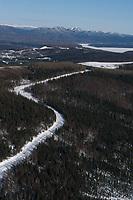 Aerial of Team on Road to Ruby & Yukon River Alaska<br /> 2004 Iditarod