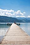 Austria, Upper Austria, Salzkammergut, near Seewalchen at Lake Attersee: bathing jetty | Oesterreich, Oberoesterreich, Salzkammergut, bei Seewalchen am Attersee: Badesteg