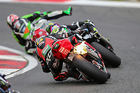 Jason O'Halloran of the Honda Racing team (No. 22) with flames coming from his exhaust during Race One of the 2017 BSB Round 6 - Brands Hatch GP Circuit at Brands Hatch, Longfield, England on Sunday 23 July 2017. Photo by David Horn/PRiME Media Images