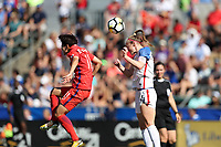 Cary, NC - Sunday October 22, 2017: Becky Sauerbrunn and Lee Geummin during an International friendly match between the Women's National teams of the United States (USA) and South Korea (KOR) at Sahlen's Stadium at WakeMed Soccer Park. The U.S. won the game 6-0.