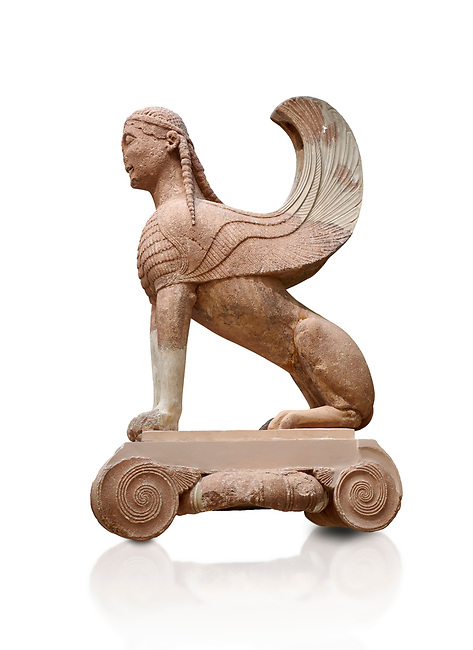 Archaic ancient Greek sculpture of a Sphinx originally on top of the column of Naxos, 570-560 BC, Delphi National Archaeological Museum.  Against white.