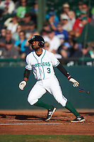 Daytona Tortugas second baseman Ty Washington (3) at bat during a game against the Fort Myers Miracle on April 17, 2016 at Jackie Robinson Ballpark in Daytona, Florida.  Fort Myers defeated Daytona 9-0.  (Mike Janes/Four Seam Images)