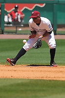 Northwest Arkansas Naturals Ramon Torres (2) field a ground ball during the game against the Springfield Cardinals at Arvest Ballpark on May 4, 2016 in Springdale, Arkansas.  Springfield won 10-6.  (Dennis Hubbard/Four Seam Images)
