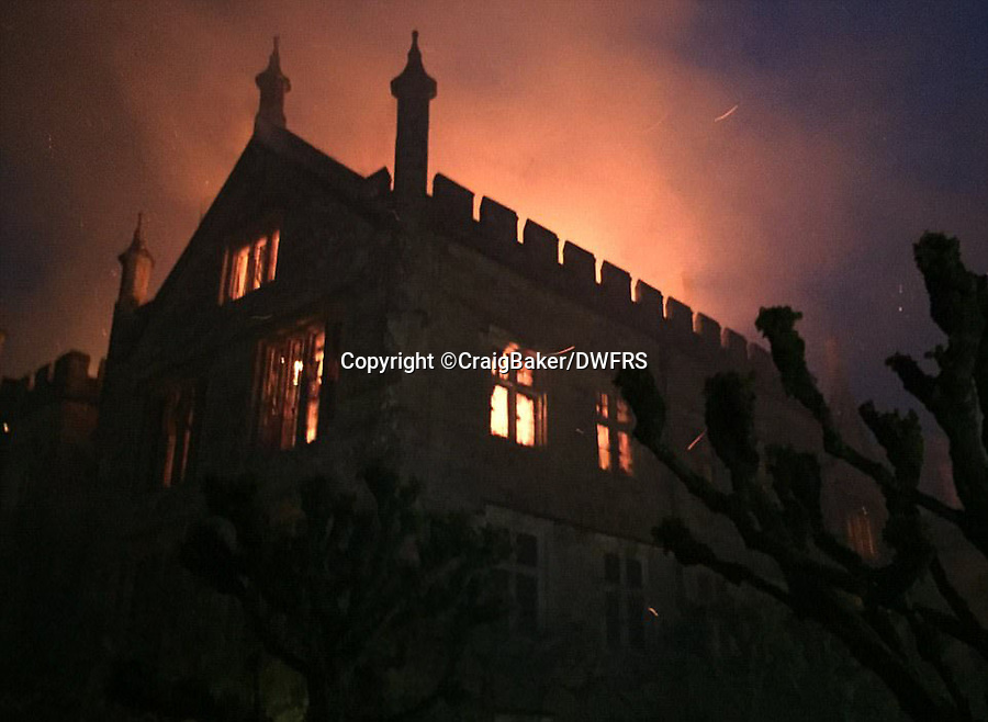 Bmth News (01202 558833)<br /> Pic:  CraigBaker/DWFRS/BNPS<br /> <br /> A £15m stately home has gone back on the market for a cut-price £2.5m after it was burnt to the ground in a suspected arson attack.<br /> <br /> Grade I listed Parnham House, near Beaminster, Dorset, is now just a charred shell of the magnificent mansion it once was following the blaze in April 2017.<br /> <br /> Its owner, hedge fund manager Michael Treichl, was arrested on suspicion of arson only to later drown in an apparent suicide. <br /> <br /> A sale for £3m was agreed for the Elizabethan manor fell through earlier this year and it has now been listed for sale again.<br /> Despite initial vows by the family that they would rebuild the 500-year-old home, receivers have been brought in by the mortgage lenders to sell what remains of the property.