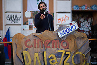 """Don Pasta (Chef at Nuovo Cinema Palazzo).<br /> <br /> Rome, 03/12/2020. Today, the Nuovo Cinema Palazzo Community held a second public assembly (1.) in Rome's San Lorenzo district to protest against the eviction of the """"Nuovo Cinema Palazzo"""" completed by the Italian police forces in the early morning of the 25th of November and to demonstrate against the violent reaction of the Police forces when, in the evening of the same day, a large demo asked to have the chance to hold a public assembly in the square (Piazza dei Sanniti) of the cinema (2.). The public assembly of today saw the participation and the support & solidarity of the representatives of movements, actors, musicians, students, artists, politicians, and citizens of San Lorenzo who told their stories and memories related to the famous Rome's Art and culture occupation (For example, actor Marcello Fonte, Best Actor Award of the 2018 Cannes Film Festival for the film Dogman, was among the first group of occupiers of the Nuovo Cinema Palazzo). The assembly of the 1st December was interrupted due to the bad weather (3).<br /> The Nuovo Cinema Palazzo was occupied the 15th of April 2011, when citizens, movements, workers of the entertainment industry reopened the former """"Palazzo Cinema"""" to prevent the opening of a casino/gambling space. The illegal occupation was intended as a public hub of art, culture, sport and politics, an open place for exchange, discussion, studies, caring and sharing.<br /> <br /> Footnotes & Links:<br /> 1. http://bit.do/fLCpE<br /> 2. Demo And Clashes Against Nuovo Cinema Palazzo Eviction in Rome's San Lorenzo: http://bit.do/fLxgz<br /> 3. http://bit.do/fLCr3<br /> Previous Stories about Nuovo Cinema Palazzo: 14.04.2018 - Nuovo Cinema Palazzo's Concert: """"7 Anni di CasiNò 