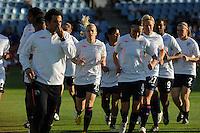 Uefa Women 's Champions League Final 2010 at  Coliseum Alfonso Perez in Getafe , Madrid : Olympique Lyon - Turbine Potsdam : opwarming / warming up team Lyon with Lara Dickenmann (middle).foto DAVID CATRY / Vrouwenteam.be