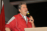 "Mike Leach, Washington State head football coach, speaks to the crowd of former WSU athletes, coaches and Cougar Athletic Fund members during Washington State University's ""Cougar Legends"" weekend at the Coeur d'Alene Resort in Coeur d'Alene, Idaho, on June 8-9, 2012."
