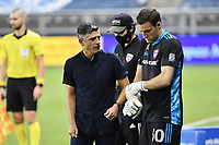 KANSAS CITY, KS - SEPTEMBER 02: Luchi Gonzalez  #30 of FC Dallas talks with head coach Luchi Gonzalez  before coming on as a sub during a game between FC Dallas and Sporting Kansas City at Children's Mercy Park on September 02, 2020 in Kansas City, Kansas.