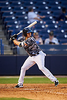 Tampa Yankees first baseman Mandy Alvarez (34) at bat during a game against the Bradenton Marauders on April 15, 2017 at George M. Steinbrenner Field in Tampa, Florida.  Tampa defeated Bradenton 3-2.  (Mike Janes/Four Seam Images)