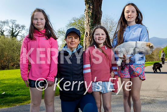 Enjoying a stroll in the Killarney National park on Saturday, l to r: Sheila, Nessa, Caoimhe and Emily Brosnan with Penny the dog.